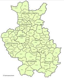Regionskarte Ostwestfalen-Lippe